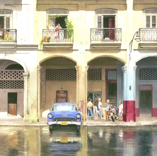 Havana Cuba Street & Car (After The Downpour) - Havana Cuba Art Collection. Paintings by award winning Surrey artist